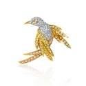 Diamond 14k Three Tone Gold Bird Brooch Pin