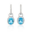 .54ct Diamond and Blue Topaz 18k White Gold Dangle Earrings