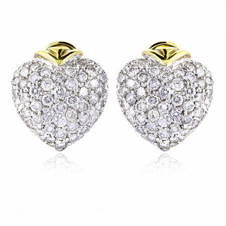 Diamond 18k Two Tone Gold Heart Cluster Earrings
