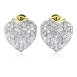 2.42ct Diamond 18k Two Tone Gold Heart Cluster Earrings
