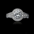 .70ct Christopher Designs Diamond Antique Style 18k White Gold Halo Engagement Ring Setting
