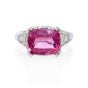 Diamond and Pink Tourmaline Antique Style Platinum Ring