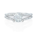 Floating Diamond 18k White Gold Split Shank Engagement Ring Setting
