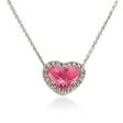 .10ct Diamond & Pink Quartz 14k White Gold Heart Pendant Necklace