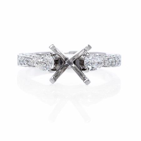 .65ct Diamond Antique Style 18k White Gold Engagement Ring Setting