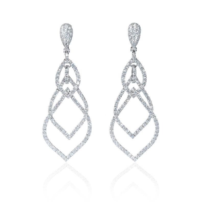 6.02ct Diamond 18k White Gold Dangle Earrings