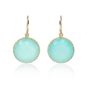 Diamond and Aqua Chalcedony 14k Yellow Gold Dangle Earrings