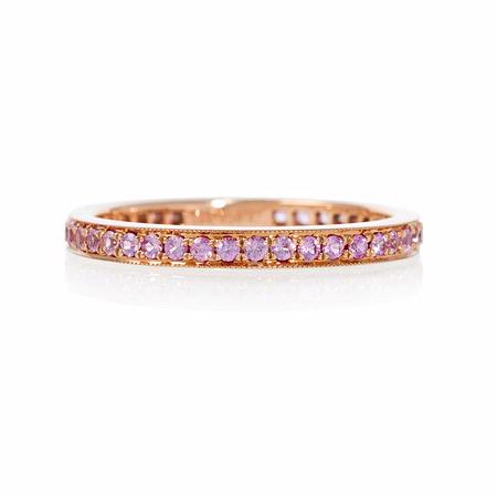 Pink Sapphire Antique Style 18k Rose Gold Eternity Ring