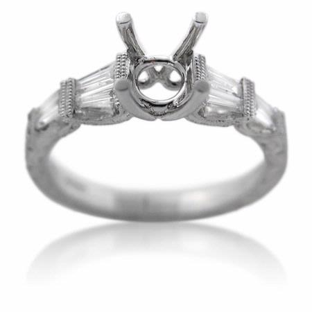 Diamond Antique Style Platinum Engagement Ring Mounting