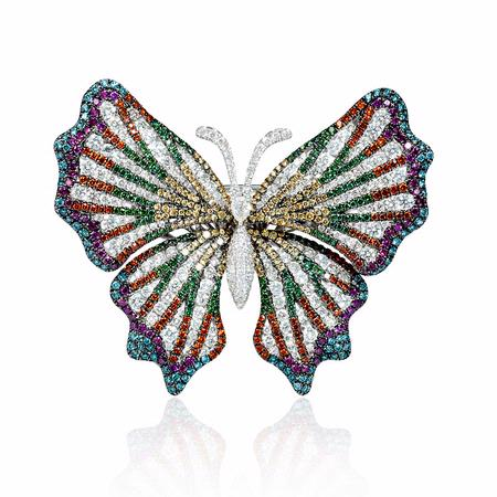 Diamond 18k White Gold and Black Rhodium Butterfly Brooch Pin
