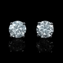 Diamond 2.06 Carats 14k White Gold Stud Earrings