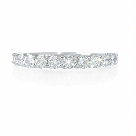 Diamond .97 Carat 18k White Gold Shared Prong Wedding Band Ring