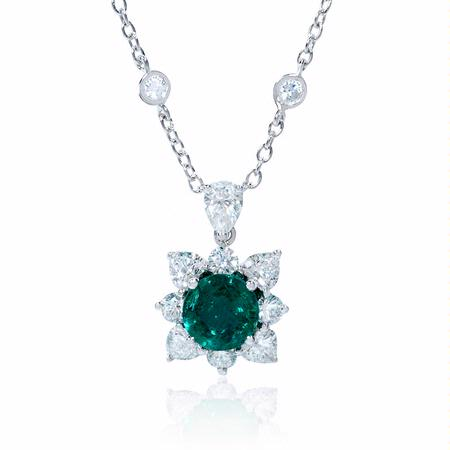 Diamond and Emerald 18k White Gold Pendant