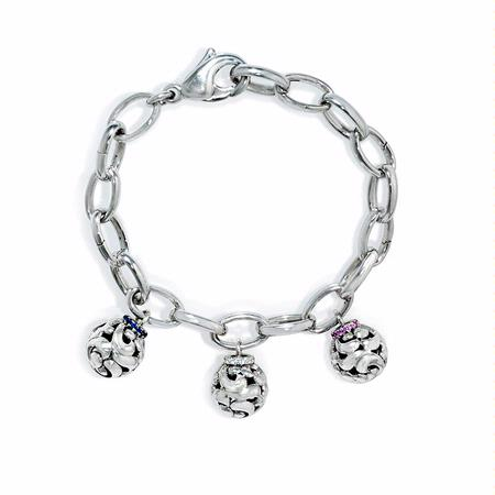 Charles Krypell SweetPea Collection Sapphire and Sterling Silver Charm Bracelet