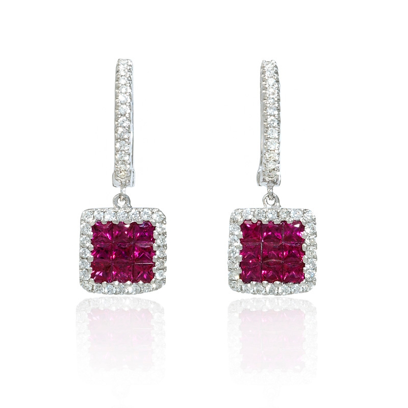 24ct Diamond And Ruby 18k White Gold Dangle Earrings
