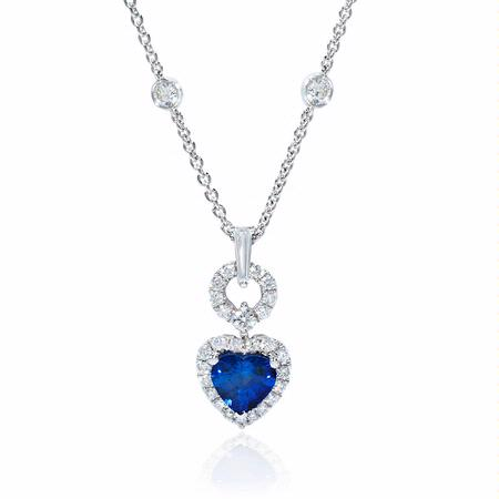 Diamond and Sapphire 18k White Gold Heart Pendant
