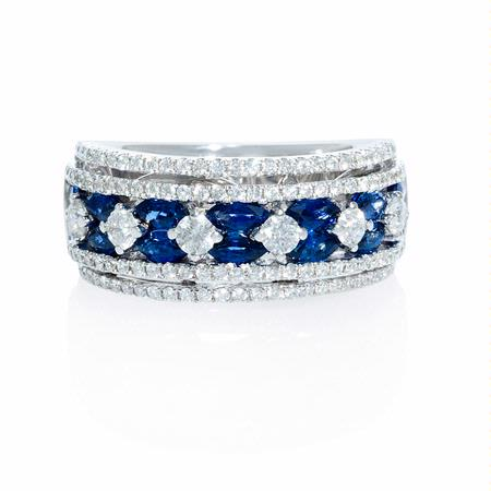 Diamond and Marquise Sapphire 18k White Gold Wide Band Ring