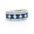 .80ct Diamond and Marquise Sapphire 18k White Gold Wide Band Ring