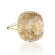 .56t Doves Diamond and Rutilated Quartz 18k Yellow Gold Ring