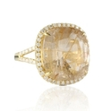 Doves Diamond and Rutilated Quartz 18k Yellow Gold Ring