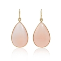 Diamond and Pink Quartz 14k Rose Gold Dangle Earrings