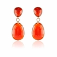1.14ct Doves Diamond and Red Agate 18k Rose Gold Dangle Earrings