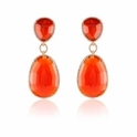 Doves Diamond and Red Agate 18k Rose Gold Dangle Earrings