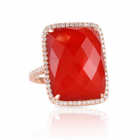 Doves Diamond and Red Agate 18k Rose Gold Ring