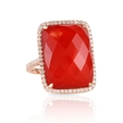 .61ct Doves Diamond and Red Agate 18k Rose Gold Ring