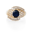Diamond and Blue Sapphire 14k Yellow Gold Ring