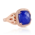 .60ct Doves Diamond and Lapis Lazuli Antique Style 18k Rose Gold Ring