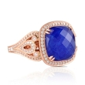 Doves Diamond and Lapis Lazuli Antique Style 18k Rose Gold Ring