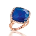Doves Diamond and Lapis Lazuli 18k Rose Gold Ring