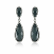 1.18ct Doves Diamond and Hematite 18k White Gold Dangle Earrings