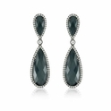 Doves Diamond and Hematite 18k White Gold Dangle Earrings