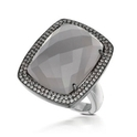 Doves Diamond and Hematite 18k White Gold Ring