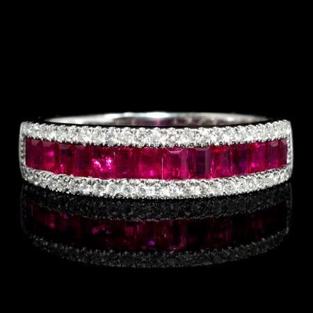 Diamond and Ruby 18k White Gold Ring
