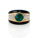 Diamond and Emerald 18k Yellow Gold Ring