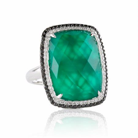 Doves Diamond and Green Agate 18k White Gold Ring