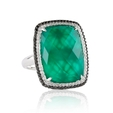 .53ct Doves Diamond and Green Agate 18k White Gold Ring