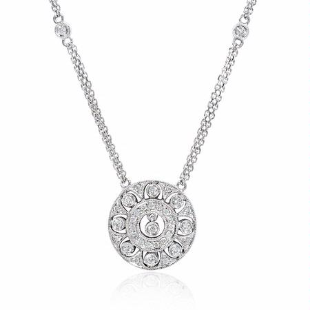 Diamond Antique Style 14k White Gold Pendant Necklace
