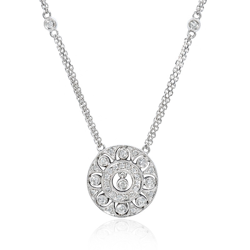 41ct diamond antique style 14k white gold pendant necklace 41ct diamond antique style 14k white gold pendant necklace mozeypictures Image collections