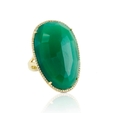.33ct Doves Diamond and Green Agate 18k Yellow Gold Ring