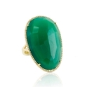 Doves Diamond and Green Agate 18k Yellow Gold Ring