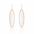 1.05ct Doves Diamond and White Agate 18k Rose Gold Dangle Earrings
