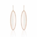 Doves Diamond and White Agate 18k Rose Gold Dangle Earrings