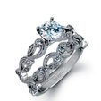 .15ct Simon G Diamond Antique Style 18k White Gold Engagement Ring Setting