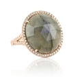 .64ct Doves Diamond and Labodorite 18k Rose Gold Ring