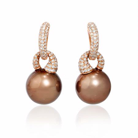 Diamond and South Sea Pearl 18k Rose Gold Dangle Earrings
