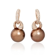 1.06ct Diamond and South Sea Pearl 18k Rose Gold Dangle Earrings